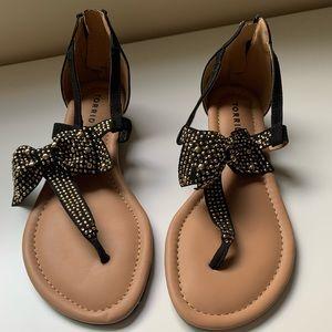 Black T-Strap Wedge Sandal (wise width)